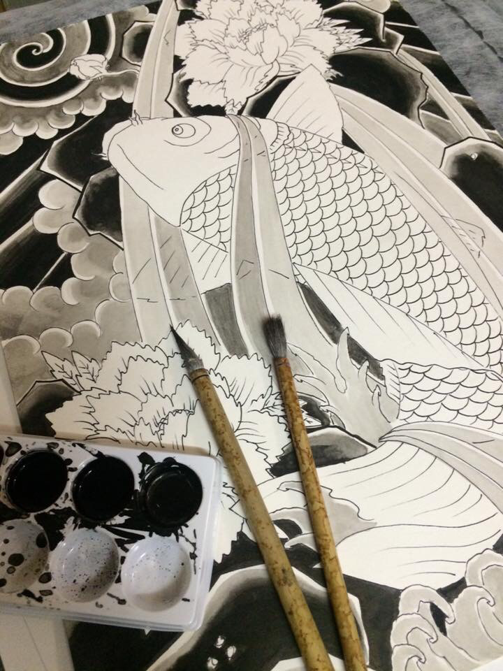 traditional japanese tattoo brush painting